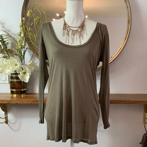 Enza Costa brown 3/4 sleeve t shirt SOFT!!